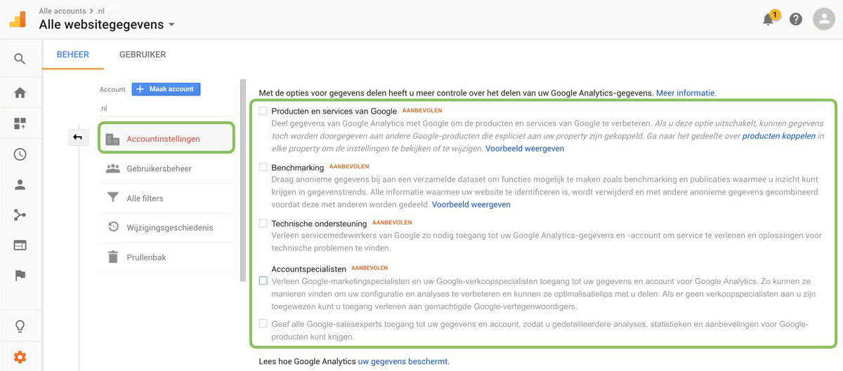 AVG en Google Analytics