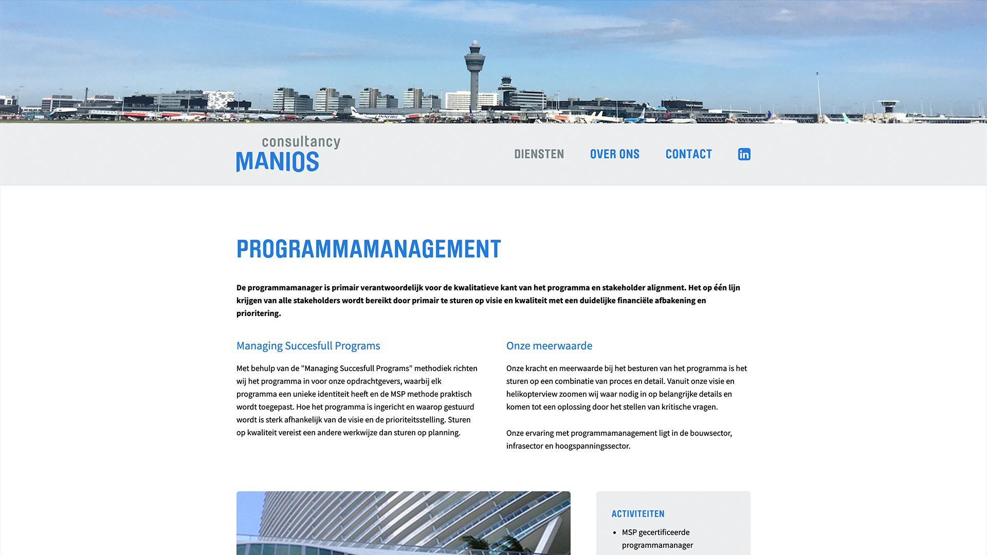 Website voor Manios Consultancy / 2