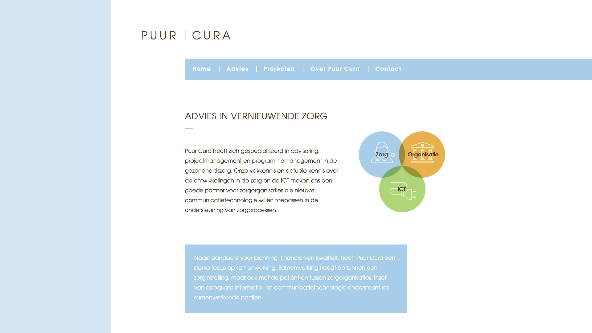Website for Puur Cura / 1